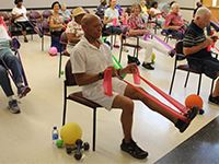 Senior adults working out