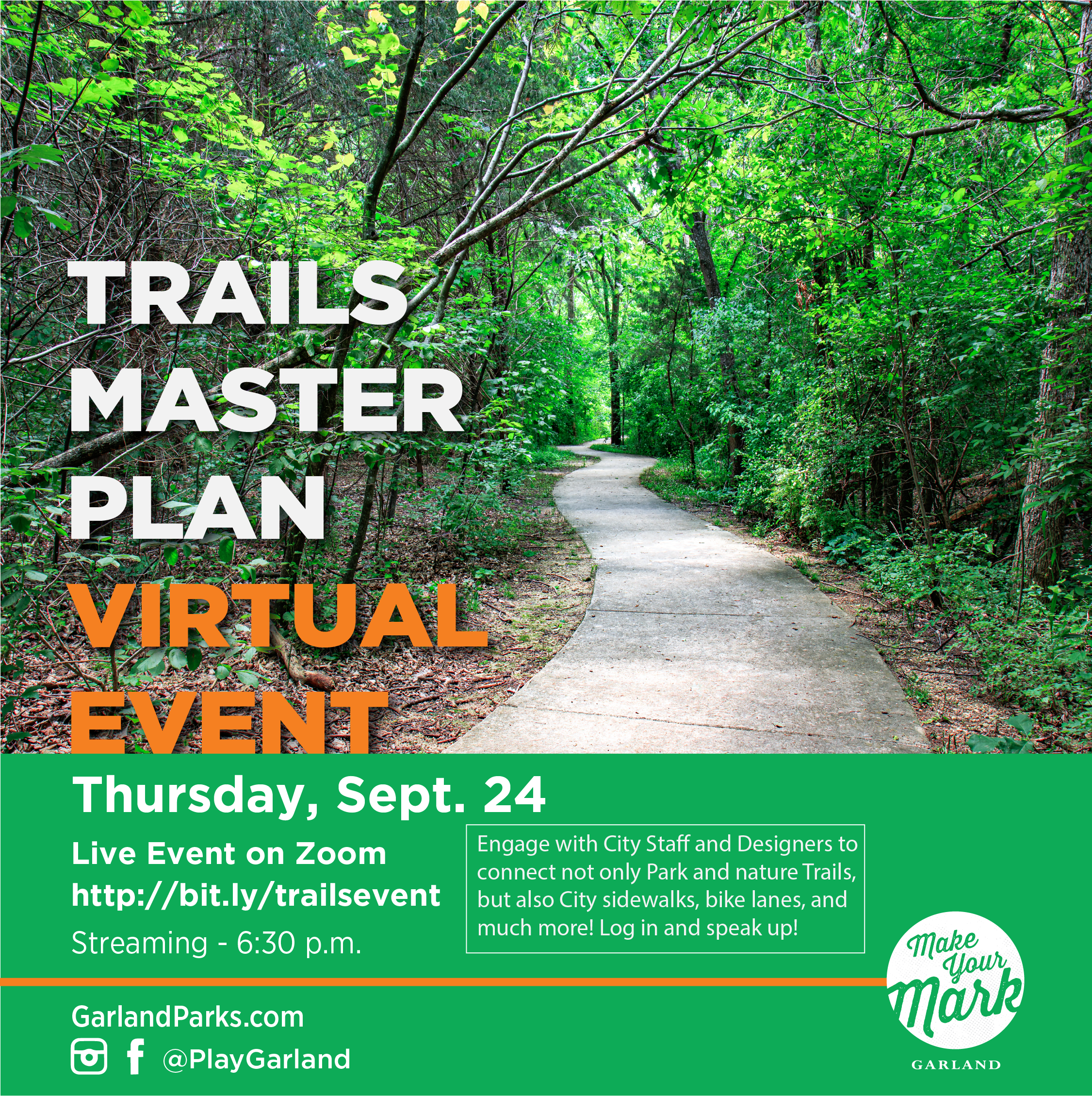 TrailsMasterPlan_Virtual event with trees and paved trail of Spring Creek Trail