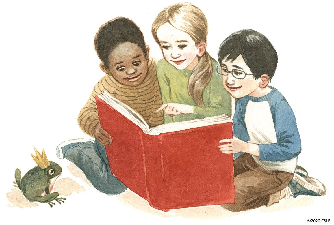 three children sitting and looking at a large red book